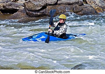 mann, kayaking, stromschnellen