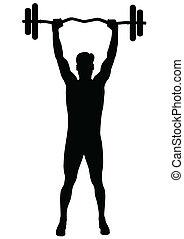 mann, klappend, fitness