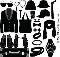 mann, kleidungszubehörteile, mann, tragen