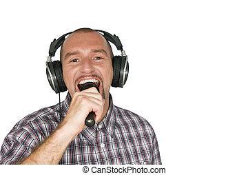 mann, kopfhörer, singende