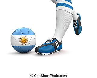 mann, kugel, mit, argentinien kennzeichen