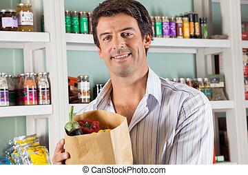 mann, kunde, mit, gemüse, tasche, in, supermarkt