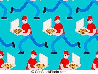 mann, läufe, laufen, vektor, kasten, muster, hintergrund., beschaffenheit, pizza lieferung, seamless.