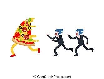 mann, läufe, vektor, isolated., pizza, abbildung, hunger