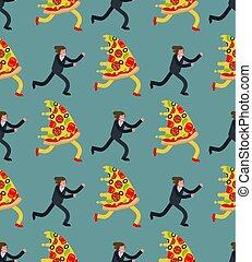 mann, läufe, vektor, muster, pizza, hintergrund, hunger, seamless.
