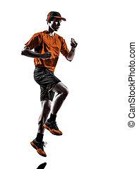 mann, läufer, jogger, rennender , jogging, silhouette