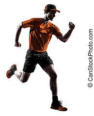 mann, läufer, jogger, rennender , jogging, springende , silhouette