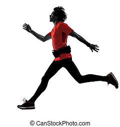 mann, läufer, rennender , jogger, jogging, freigestellt, silhouette, weiß bac