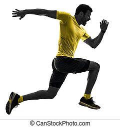 mann, läufer, rennender , jogger, jogging, freigestellt, silhouette, weißes, zurück