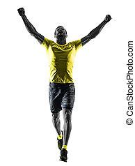 mann, läufer, rennender , jogger, jogging, glücklich, freigestellt, silhouette, bisschen