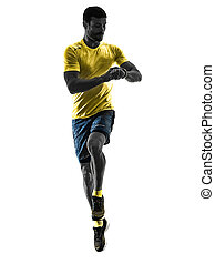 mann, läufer, rennender , jogger, jogging, zeit, freigestellt, silhouette, weißes