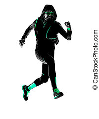 mann, läufer, rennender , jogging, jogger, silhouette