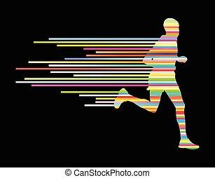 mann, läufer, silhouette, vektor