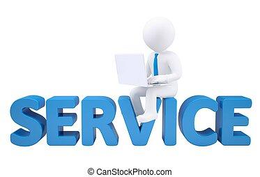 mann, laptop, 3d, service, sitzen