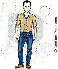 mann, lebensstil, clipart., modern, hintergrund, junger, abbildung, hexagons., thema, vektor, male., posen, brünett, hübsch