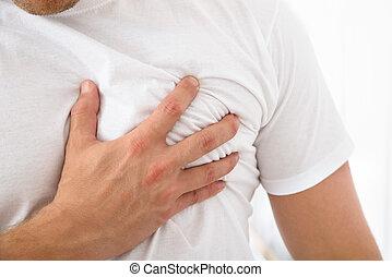 mann, leidensdruck, von, brust schmerz
