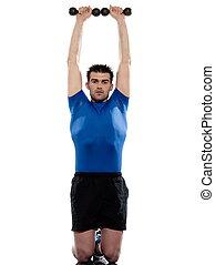 mann, machen, workout, mit, gewicht, weiß, freigestellt, backgroun