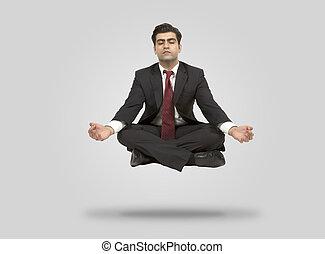 mann, meditiert, mittler, geschaeftswelt, luft