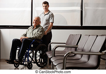 mann, mit, behinderten, großvater