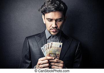 mann, mit, geld