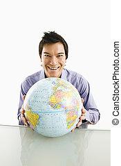 mann, mit, globe.