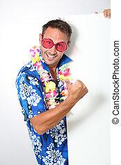 mann, mit, hawaiisches hemd, weiß, hintergrund