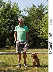 mann, mit, hund, draußen