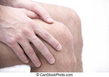 mann, mit, knie, schmerz, und, gefühl, schlechte, in, medizin, büro., osteoarthritis, gelenk, schmerz, nach, sport., bricht, und, sprains, von, der, kniegelenk