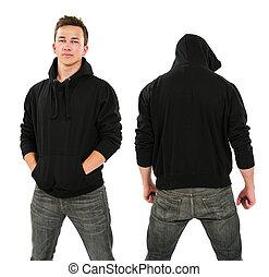 mann, mit, leer, schwarz, hoodie