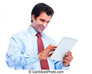 mann, mit, tablette, computer.