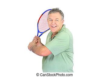 mann, mit, tennis racquet