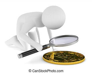 mann, mit, vergrößerungsglas, weiß, hintergrund., freigestellt, 3d, abbildung