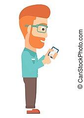 mann, mobiltelefon benutzen