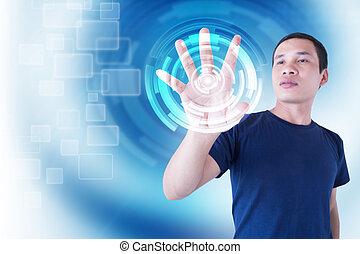 mann, moderne technologie