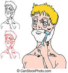 mann, muede, rasieren