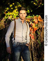 mann, natur, draußen, junger, attraktive, herbst, modell, (autumn)