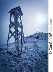 mann, oben, a, berg, in, winter
