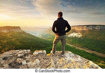mann, oben, mountain.