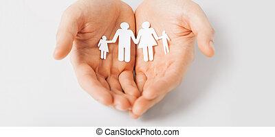mann, papier, familie, hände