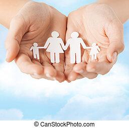mann, papier, weibliche , familie, hände
