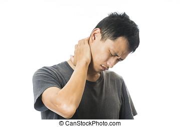 mann, physisch, unbehagen, hals schmerz