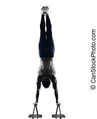 mann, pilates, übungen, fitness, freigestellt