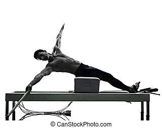mann, pilates, reformer, übungen, fitness, freigestellt