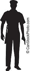 mann, polizeibeamter, silhouette