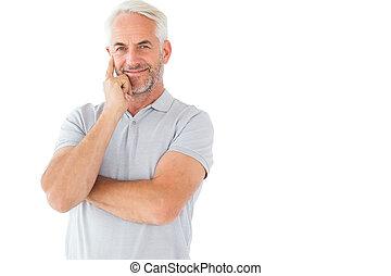 mann, posierend, lächeln, gekreuzte arme