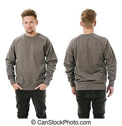 mann, posierend, mit, leer, grau, sweatshirt