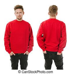 mann, posierend, mit, leer, rotes , sweatshirt