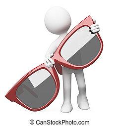 mann, posierend, mit, rote sunglasses