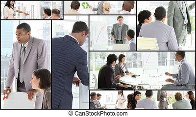 mann, präsentieren, an, a, konferenz