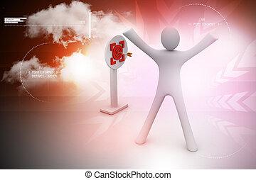mann, präsentieren, ziel, rotes , zentrum